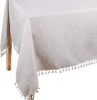 Dedoot Table Cloth, Rectangle Tablecloth with Tassels 55x70 Inch Heavy Weight Cotton Linen Tablecloth Decorative Dinner Tablecloth Dust-Proof Table Cover for Wedding Picnic Party Tabletop Decor