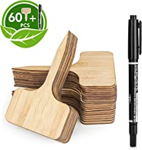 HOMENOTE 60pcs Bamboo Plant Labels (6 x 10 cm) with Bonus a Pen Vegetable Garden Markers..