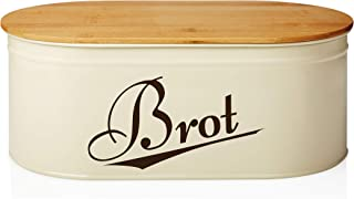 Lumaland Cuisine Brotkasten Brotdose Brotbox aus Metall mit Bambus Deckel, oval 36 x 20 x 13,8 cm Beige