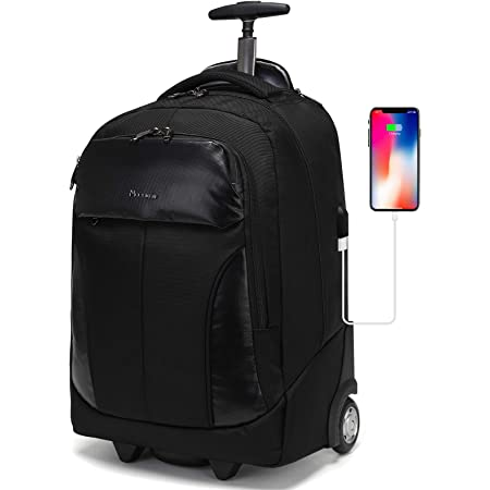 Wheeled Laptop Backpack with USB Charging Port Waterproof Luggage Suitcase