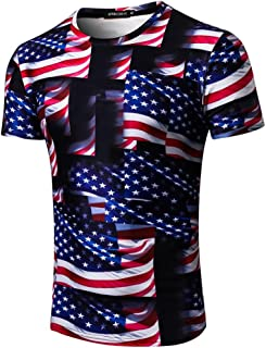 Patriotic Tops for Men, American Flag Clothing Printing Sleeve T-Shirt Blouse Tops