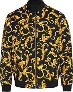 Daupanzees Mens All Over Fashion Luxury Design Print Open Front Long Sleeve Bomber Jacket with Ribbed Cuffs, Zipper