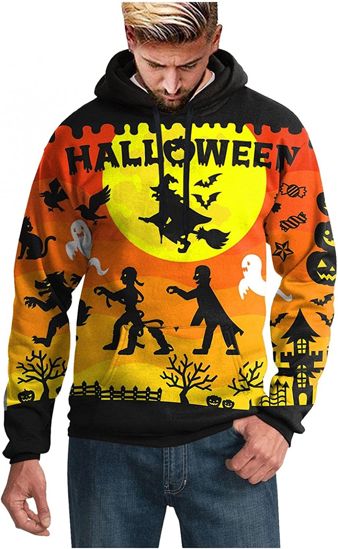 Aayomet Shirts for Men Novelty Evil Printed Halloween Hoodies Pullover Blend Fleece Long Sleeve Casual Mens Shirts