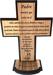 The Lord's Prayer Wooden Standing Décor Cross (5.5 Inch Spanish) - KJV Scripture Matthew 6:9-13, Laser Engraving of 'Our F...