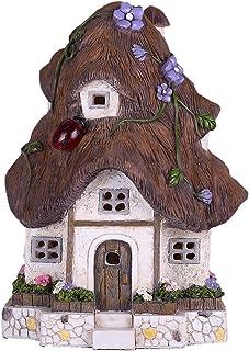 TERESA'S COLLECTIONS Fairy Garden House Outdoor Cottage Statue with Solar Lights Polyresin Garden Figurines for Outdoor De...