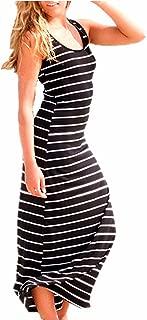 ZANZEA Women's Sleeveless Striped Maxi Dress Scoop Neck Party Beach Sundress Loose Long Dresses