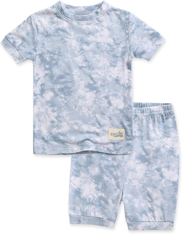 VAENAIT BABY Bamboo Cool Fabric 12M-8Y Toddler Kids Girls Boys Tie Dye Soft Short Pjs Summer Pajamas 2pcs Set
