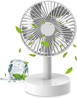 明誠 扇風機 卓上 静音 usb充電式 自動首振り タイマー 5枚根羽 節電 大容量バッテリー内蔵 風量3段階調整 卓上ファン 熱中症対策(ホワイト)