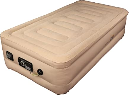 SimplySleeper SS-49T Premium Raised 18 Inflatable Mattress - Air Bed w/ Built-in Fully Automatic Electric Pump (Puncture & Stretch Resistant!) w/ New Patented Auto Stop Pump. Travel bag and Repair Kit Included. (Twin Size)