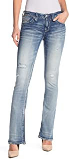 Lang Distressed Womens Mid-Rise Boot Cut Jeans