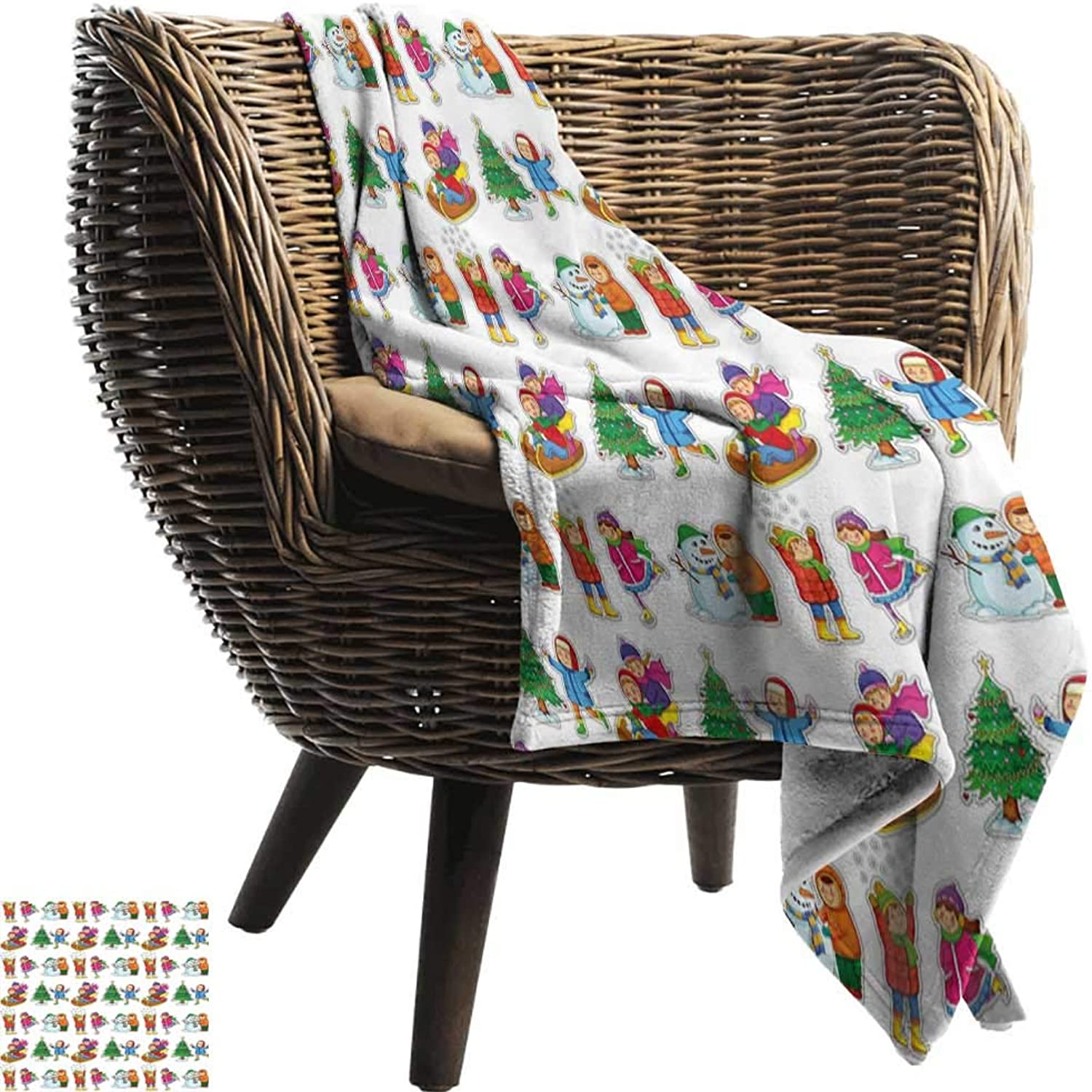 Outdoor Blanket,Winter,Kids in Winter Clothes Building Snowman Sledding and Christmas Tree Happy Times,300GSM,Super Soft and Warm,Durable Throw Blanket 35 x60