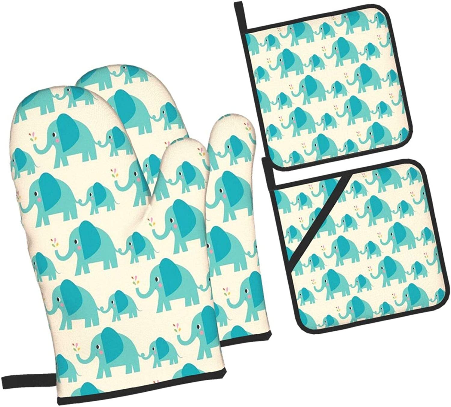 733 Elephant 4 Set of Oven Durable Mitt and Sets Soldering shop Pot Holders