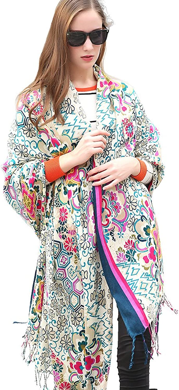 DANA XU 100% Pure Wool Winter Women Scarf National Style Pashmina   (Navy)