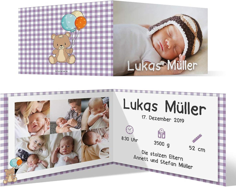 50 x x x Geburt Danksagungskarten Geburtskarten individuell mit Foto und Text für Mädchen und Jungen - Lila Karo B07N125WBG | Grüne, neue Technologie  9a8e48