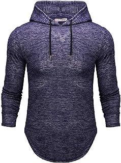 UUYUK Men's Casual Solid Color Slim Fit Curved Hem Pullover Hooded Sweatshirt
