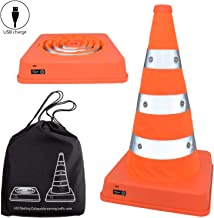 2PCS Premium LED Light Up Collapsible Traffic Cones USB Rechargeable 16 Inch Flashing Reflective Training Road Cone for Safety, Soccer Football Sports, Event, Multipurpose Markers, 2 Flashing Modes(2)