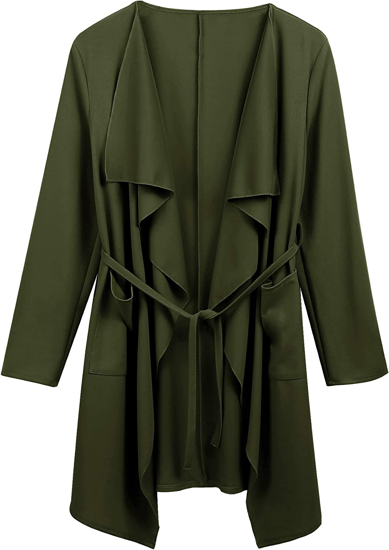 Dealwell Women's Long Sleeve Open Front Waterfall Draped Trench Coat Cardigan