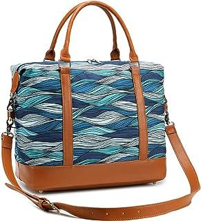 CAMTOP Women Ladies Weekender Travel Bag Canvas Overnight Carry-on Duffel Tote Luggage (Blue-Ocean Wave)