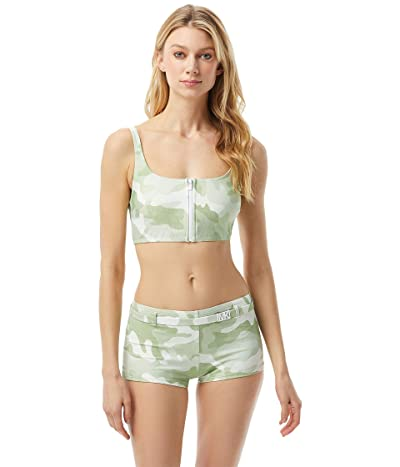 MICHAEL Michael Kors Camo Zip Front Bralette with Removable Soft Cups (Army Green) Women