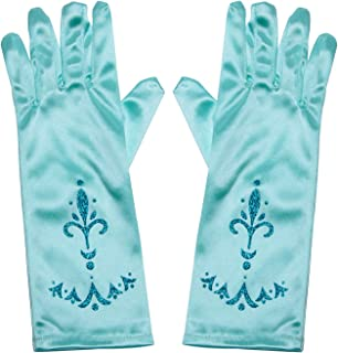 Joy Join Little Girls Princess Gloves(Solid Color Long Elbow Length) For Birthday,Wedding,Holiday,Costume Party(Elsa) Blue, One Size