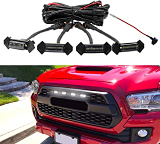 Seven Sparta Led White Lights 4 PCS with Fuse for 2016-2018 Aftermarket Toyota Tacoma TRD PRO Grille (Black Shell)