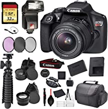 $368 » Canon EOS Rebel T6 Digital SLR Camera with EF-S 18-55mm f/3.5-5.6 DC III Lens Kit (Black) Essential Accessory Bundle Package Deal Includes: 32gb SD Card + 3pc Filter Kit + DSLR Bag + More