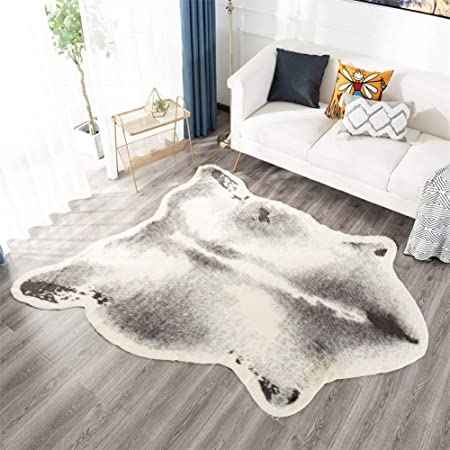 Cowhide Animal Print Area Rug Measures 4 1 X 4 15 Faux Cowhide Print Carpet Brown And Ivory Beautiful For Your Home Decor Cabin Bedroom Chalet Living Room And More Amazon Co Uk Kitchen