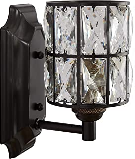 Doraimi 1 Light Crystal Wall Sconce Lighting with Painting Black Finish,Modern and Concise Style Wall Light Fixture with Crystal Plate Metal Shade for Bath Room, Bed Room, LED Bulb(not Include)