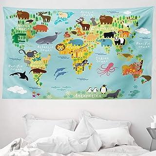 comprar comparacion ABAKUHAUS Viajeros Tapiz de Pared y Cubrecama Suave, Animal Mapa del Mundo para Niños Dibujos Infantil Montaña Bosque, Mat...