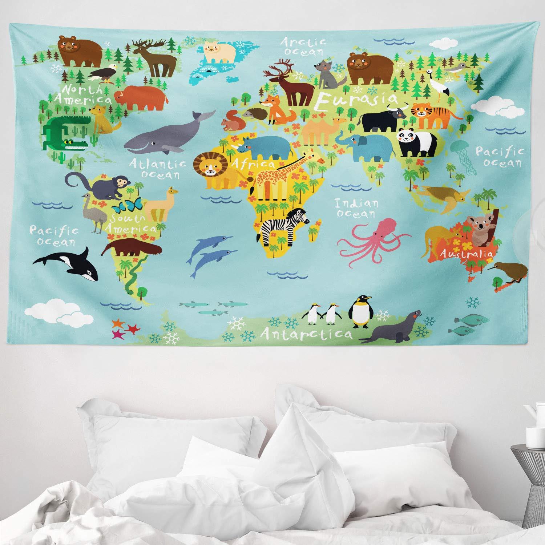 ABAKUHAUS Viajeros Tapiz de Pared y Cubrecama Suave, Animal Mapa del Mundo para Niños Dibujos Infantil Montaña Bosque, Material Resistente, 230 x 140 cm, Verde Amarillento: Amazon.es: Hogar