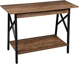 GreenForest Console Table Wood and Metal Sofa Table with Storage Entryway Table for Living Room, Easy Assembly, Walnut