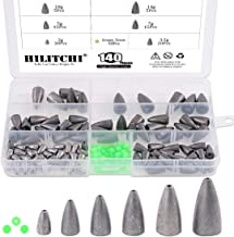 Hilitchi 140 Pcs Bullet Weights Sinker Assortment Kit Lead Fishing Weights Sinkers Assorted Set with Glowing Fishing Beads Worm Weights for Bass Fishing Saltwater