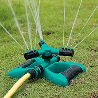 Sea pioneer Garden Sprinkler, Automatic Lawn Water Sprinkler 360 Degree 3- Arm Rotating Sprinkler System for Large Lawn Area with