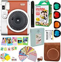 Fujifilm Instax Mini 90 Neo Classic Instant Film Camera (Brown) + Fuji Instax Film Twin Pack (20PK) + Accessories Kit/Bundle + Fitted Case + 4 Filter Lens + Frames + Photo Album + More
