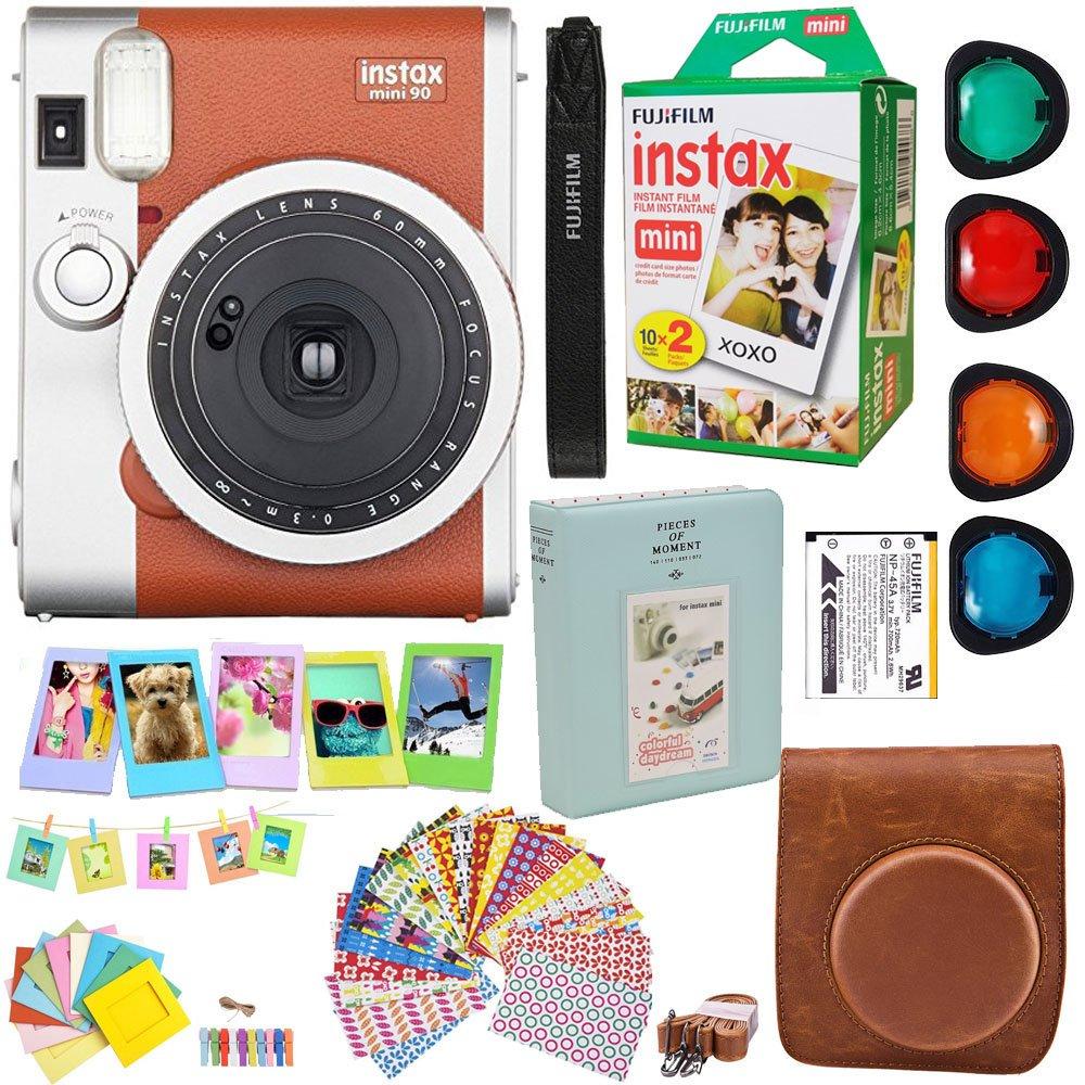Fujifilm Instax Mini 90 Neo Classic cámara instantánea película (marrón) + Fuji Instax película Twin Pack (20pk) + Kit de accesorios/Bundle + fitted case + 4 filtro lente + marcos + álbum de fotos + más: Amazon.es: Electrónica