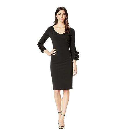 Badgley Mischka Scrunch Ruffle Sleeve Dress (Black) Women