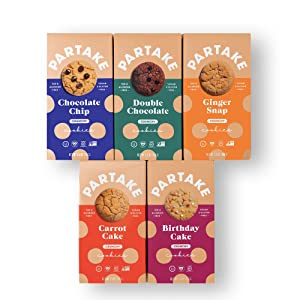 Partake Foods Crunchy Vegan Cookies – 5 Box Variety Pack   Vegan & Gluten Free   Dairy Free, Nut Free, Egg Free, Wheat Free, Soy Free, Fish Free   Allergy Friendly Cookies   Safe School Snack for Kids