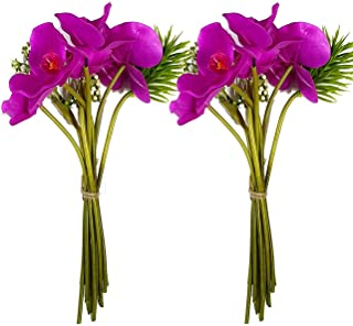 Art Street Set of 2 Artificial 10 Head Purple Orchid Flowers with Stem for Home Decoration, Perfect for Decorating a, Home...