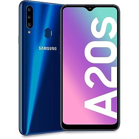 "SAMSUNG Galaxy A20s, Smartphone, Display 6.5"" HD+, 3 Fotocamere Posteriori, 32 GB Espandibili, RAM 3 GB, Batteria 4000 mAh, 4G, Dual Sim, Android 10, 183 g, [Versione Italiana], Blu"