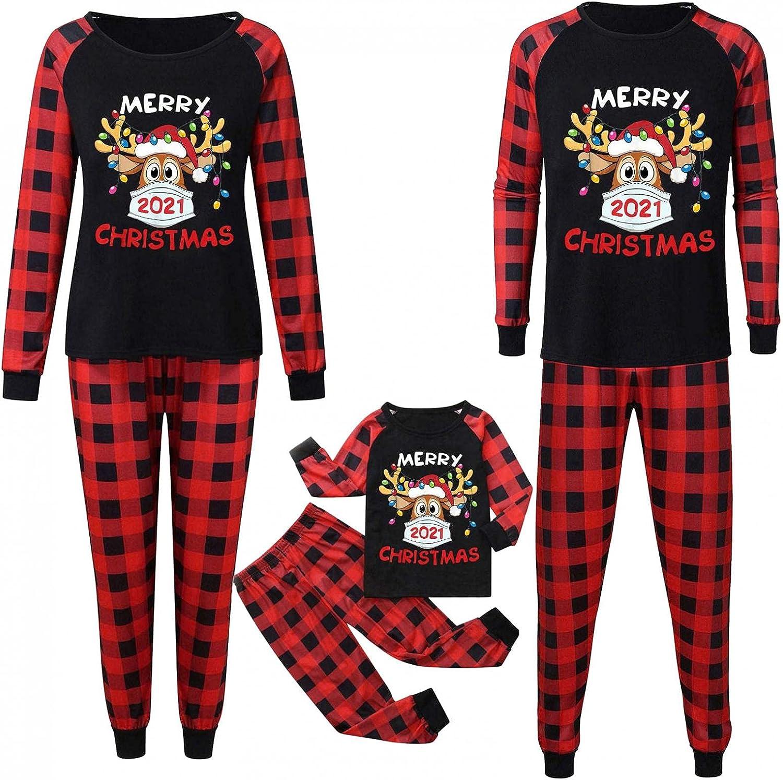 Christmas Matching Pajamas For Family Plaid Deer Xmas Pajamas Pjs Sleepwear Outfits Matching Set for Men Women Kids