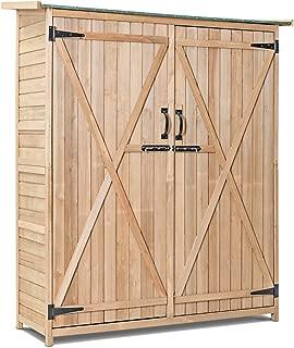 Goplus Outdoor Storage Shed, Fir Wood Cabinet for Garden Yard, Lockable Doors