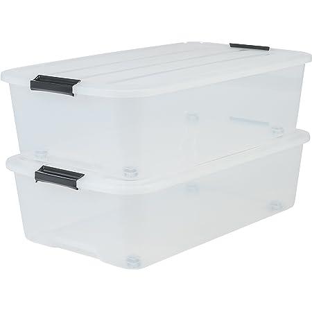 Iris Ohyama 135462 Set de 2 Boîtes de Rangement avec roulettes pour Dessous de Lit, Plastique, Transparent, 40 L