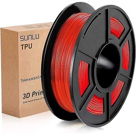SUNLU TPU Flexible Filament 1.75mm for 3D Printer 500g/Spool Dimensional Accuracy +/-0.03mm (Transparent Red)