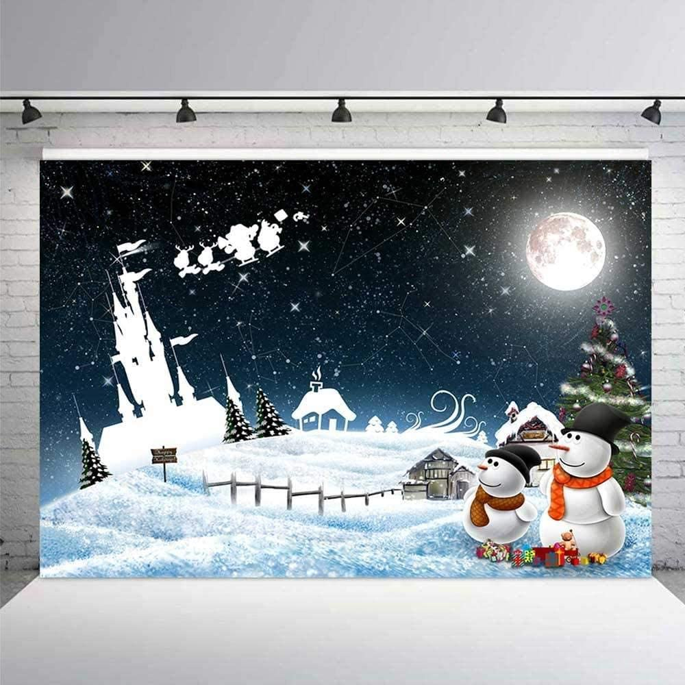 Zhy Merry Christmas Background 7x5ft White Snow Holly Wreath Door Decoration Backdrop for Photography Happy New Year Portrait Photo Studio Props 11EE047