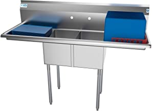 KoolMore 2 Compartment Stainless Steel NSF Commercial Kitchen Prep & Utility Sink with 2 Drainboards - Bowl Size 12