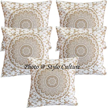 Stylo Culture Indian Throw Pillows for Beds Oro Impreso Floral ...
