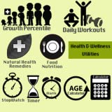 Health & Wellness Fitness Utilities - Daily Workouts, Natural Health Remedies, Food Nutrition, Growth Percentile, Age Calculator, Stop Watch, Timer, Alarm, Calculator