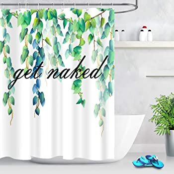 Tropical Plants Green Leaves Shower Curtain Set Blue Letters Waterproof Fabric