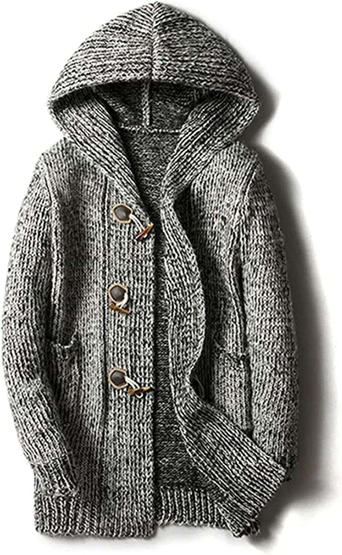 JOAOL Autumn Winter Mens Loose Long Cardigans Sweaters Mens Knit Hooded Sweater