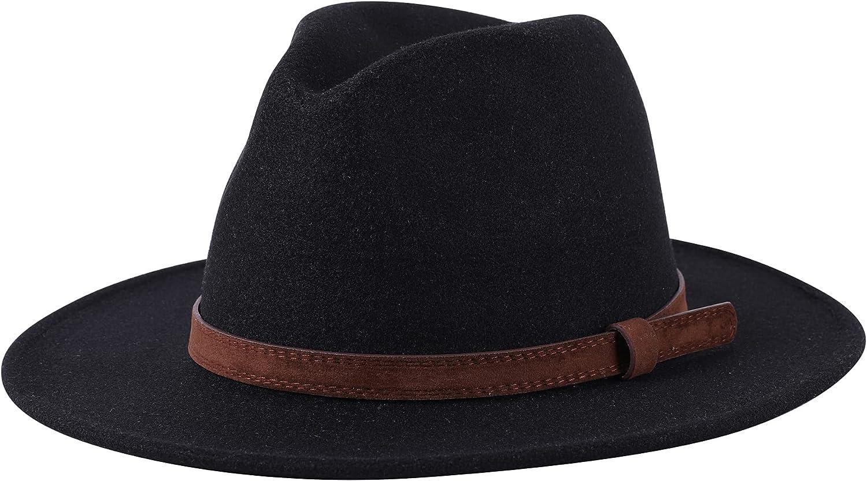 Lanzom Women Wide Brim Warm Wool Fedora Hat Retro Style Belt Panama Hat